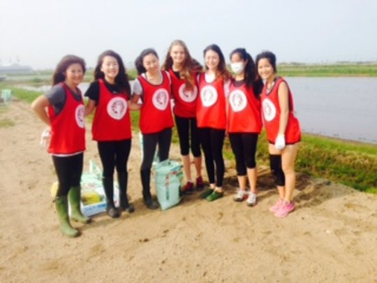 With ASIJ club. Making sand bags