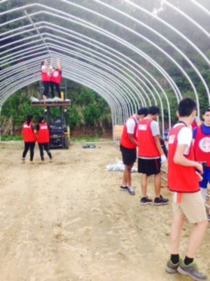 With ASIJ club. Building NRC's new pipe house.
