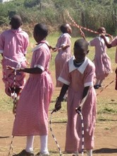Girls enjoying their new jump ropes