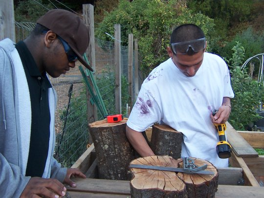 Students Cutting Wood