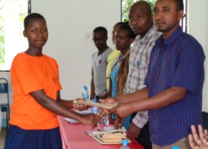 Presenters getting certificates