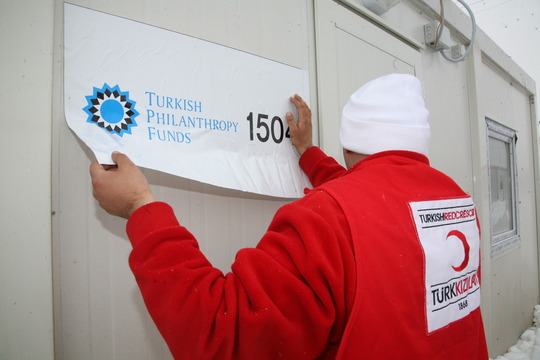 Kizilay posting TPF's name on container homes