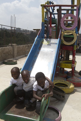 Students enjoying the rooftop playground