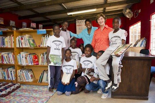 Laura Bush Visits the Chikumbuso Library