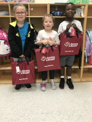 Here are the RAR Bright Red Book Bags and Kids!