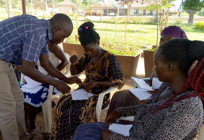 Adolescent mothers receiving practical training