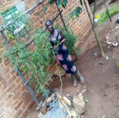 Violet tends her garden