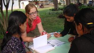 Peace Corps volunteer facilitating workshop