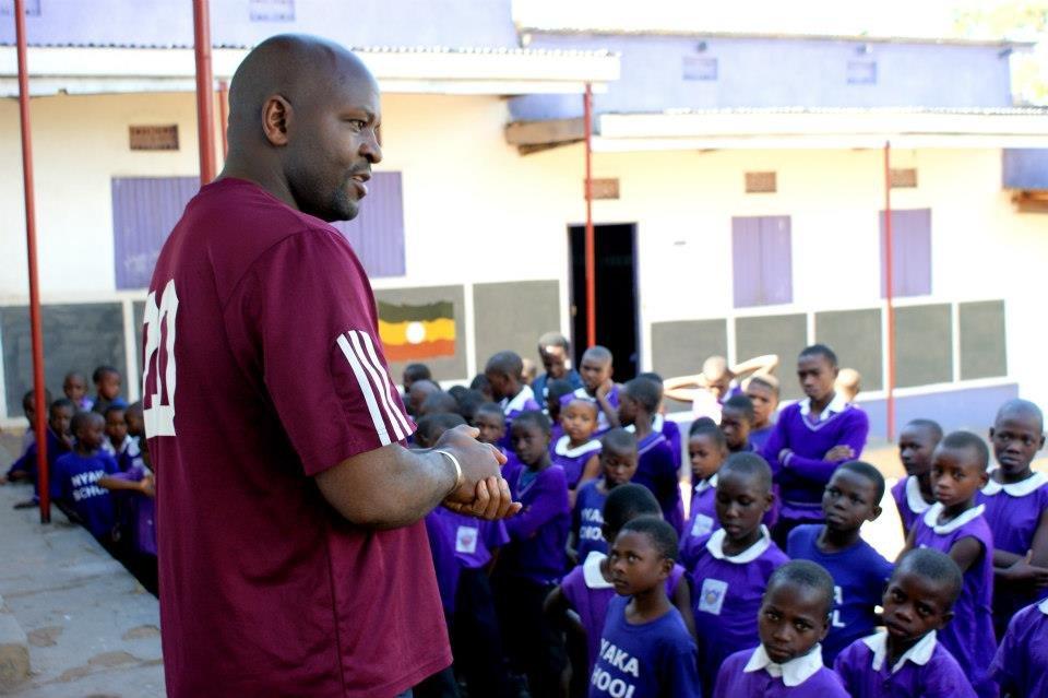 Jackson speaks to students in Uganda