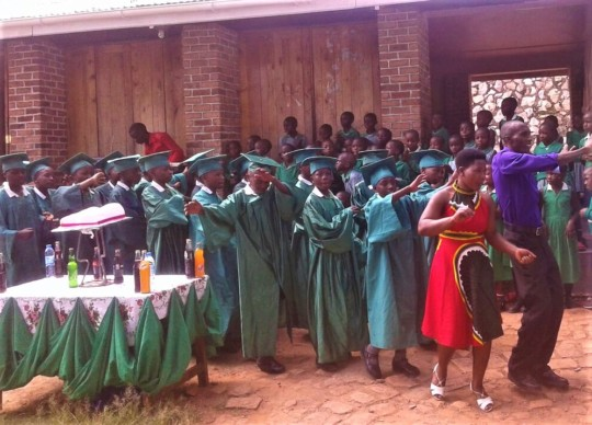 Students and teachers celebrating