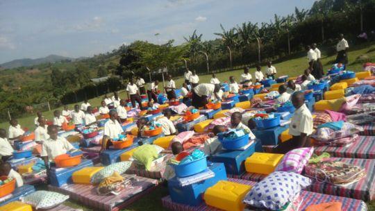 NVSS students receiving their dorm supplies