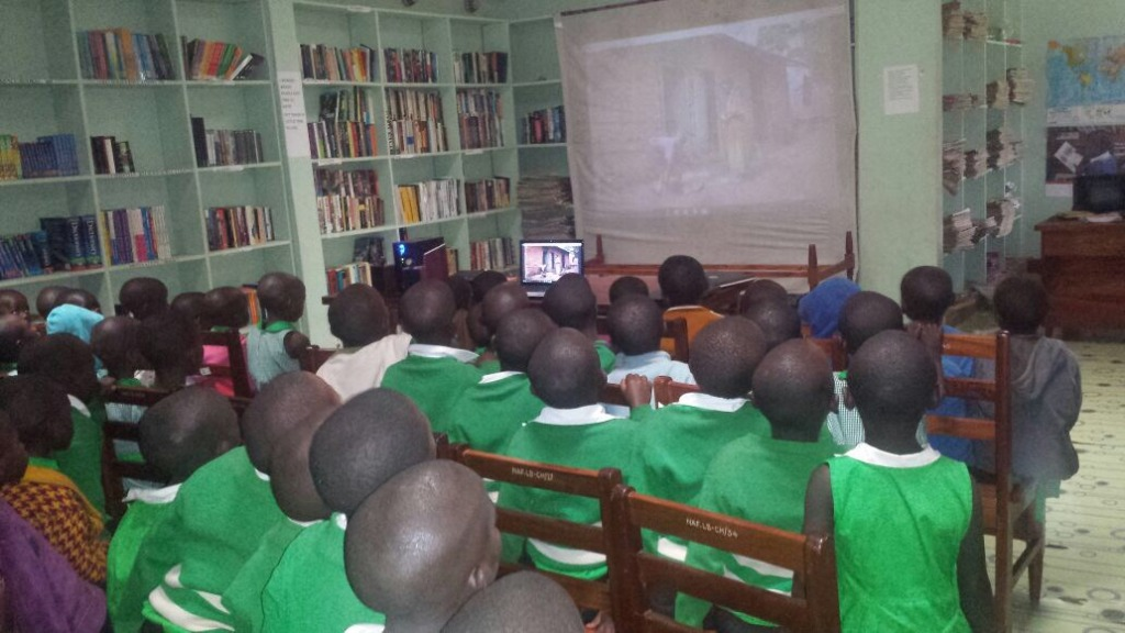 Students watching Cornerstone the film