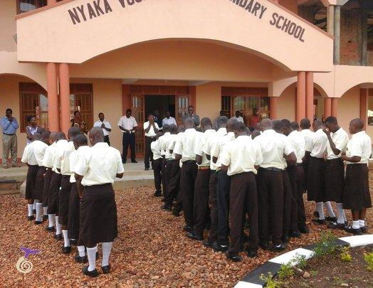Students at morning assembly