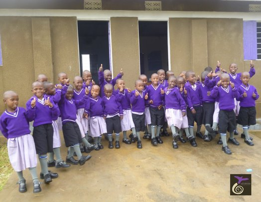 Nyaka Nursery Students Showing Off Their New Shoes