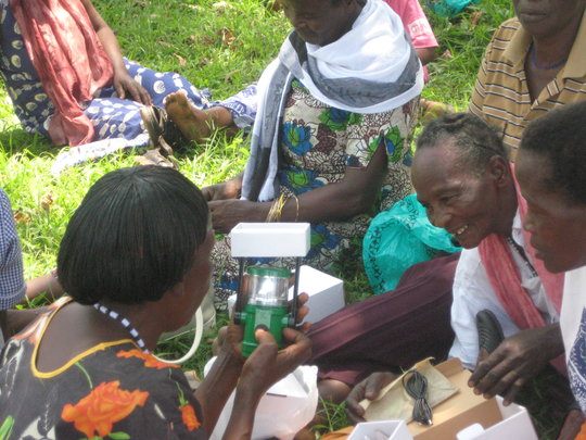 Grannies check out their new solar powered lights