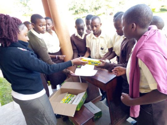 Students receiving soap!
