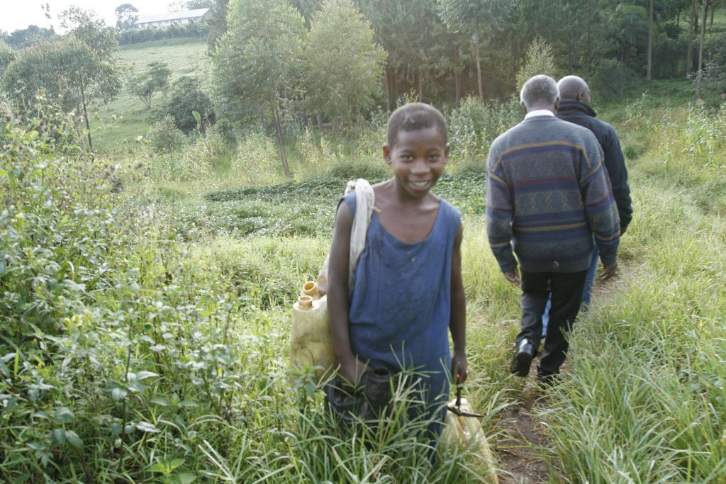 Nyaka Student Fetching Clean Water