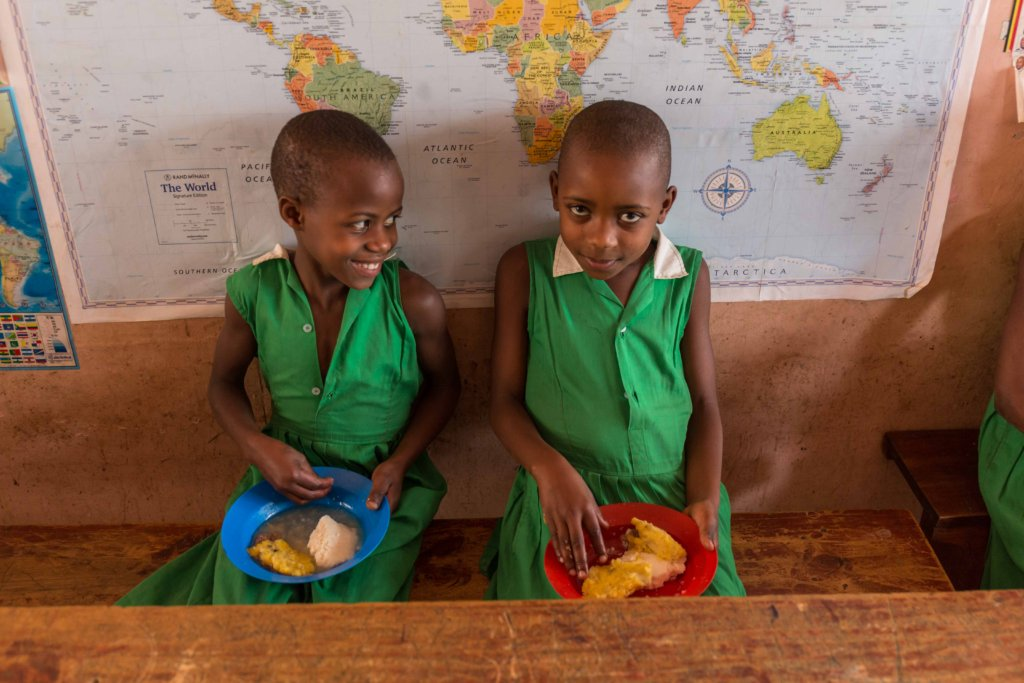 Children at Kutamba Primary School enjoying lunch