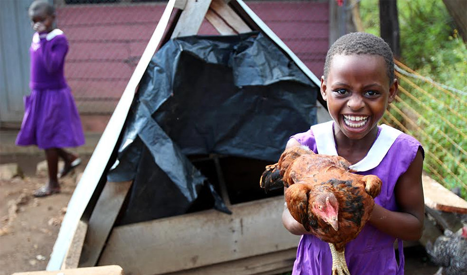 Nyaka Student holding chicken on the Desire Farm