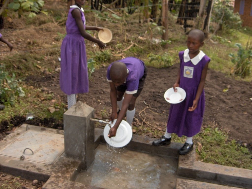Students washing their dishes