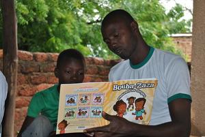 Partner reading with Activities Coordinator