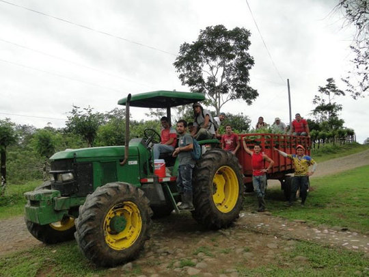 Crew and tractor loading trees from nurseries