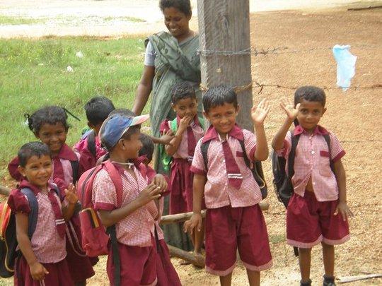 Children in mine-contaminated village in Sri Lanka