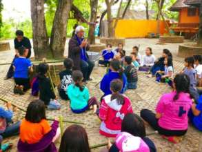 The music class with traditional Thai bamboo flute