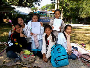 Grade 5 students during an outdoor English lesson!