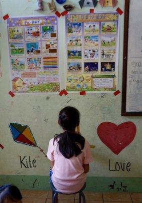 A Kindergarten Student learning Thai