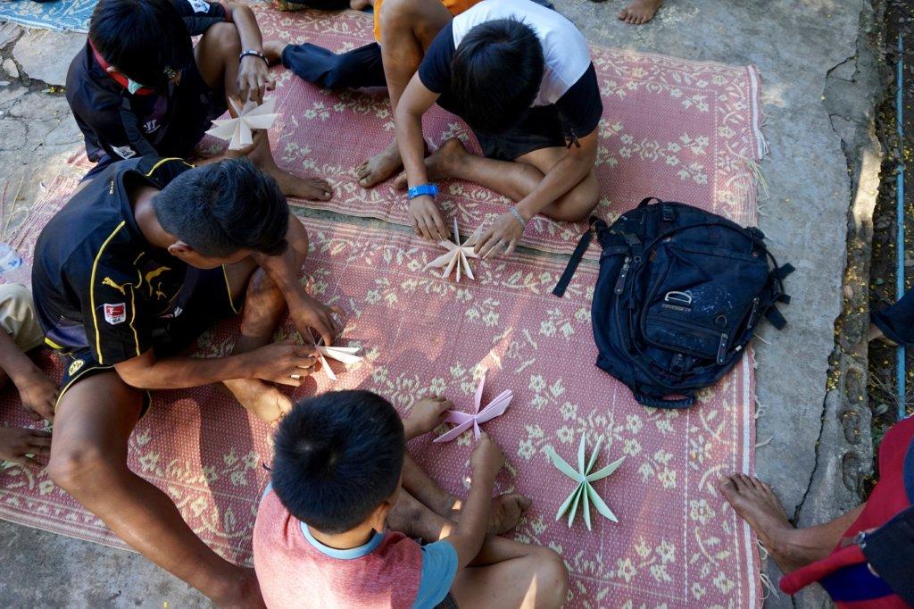 Students Preparing Krathongs for Loi Krathong