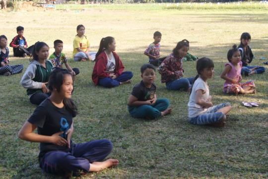 Yoga class at the Half Day School