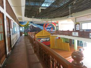 empty class hallways b/c exams recently finished
