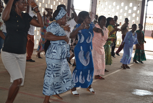 Teachers dancing in celebration