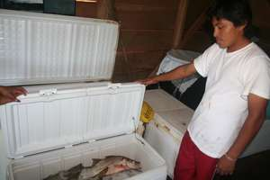 A freezer allows fisherfolk to store their catch