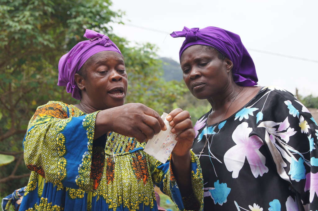 A female condom demonstration in southern Cameroon