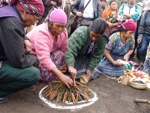 A Maya Quiche ceremony is performed in Totonicapan