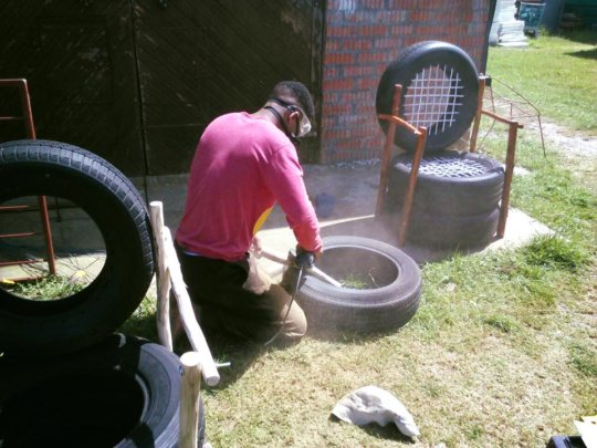 The new tyre furniture project at the youth centre