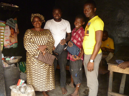 Tom and his family at Christmas, with Ayo