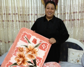 Egyptian businesswoman Samah in her showroom/