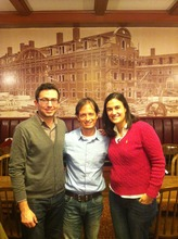 Leonardo Letelier with two former summer interns