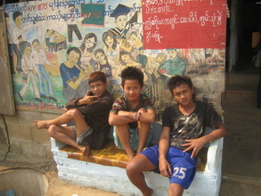 Hanging out at the DARE Centre in Mae La Camp