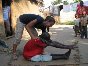 Volunteer Emily with one of UKUN's Clients