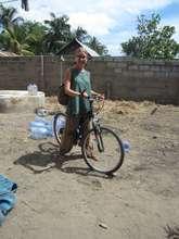 Micu on her bike