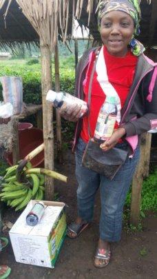 Elizabeth sells farming inputs during rainy season