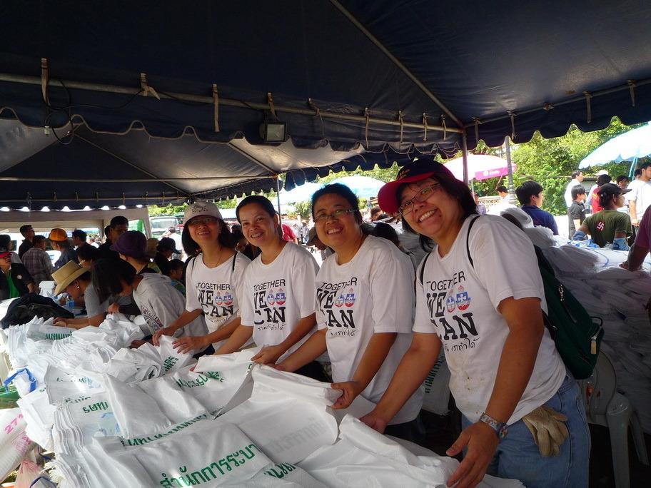 Foundation for Life - preparing sandbags