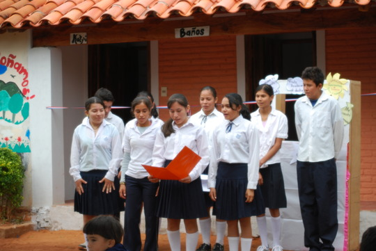 Students sing song about good hygiene