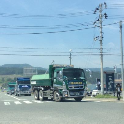 Trucks busy for raising the land level