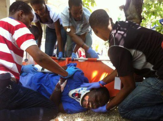 Students in this year's class learning trauma care