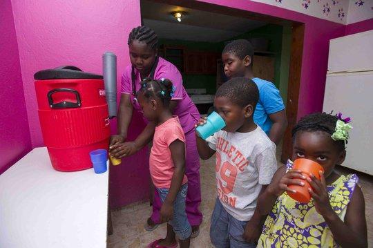 Kids getting water